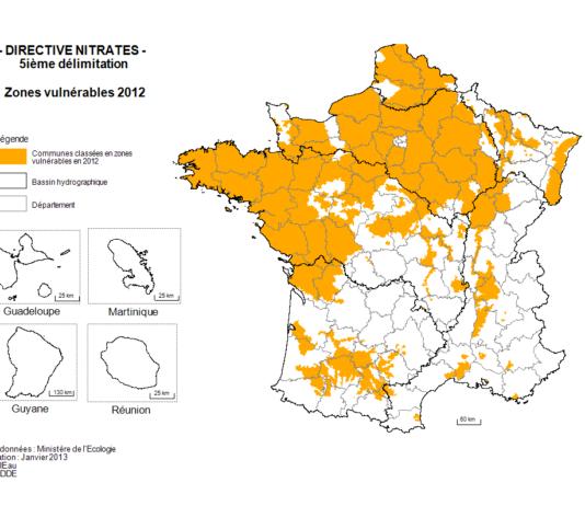 Zones touchées par le Nitrate en France